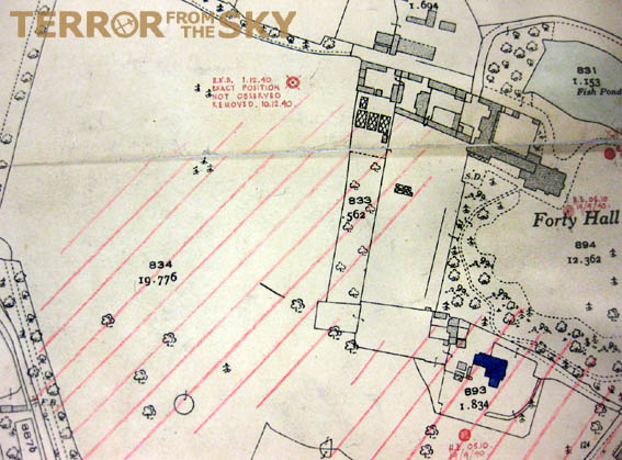 Bomb map of Forty Hall and Forty Hall Farm showing HE bombs as well as the incendiary attack in February 1944 (red striped are).